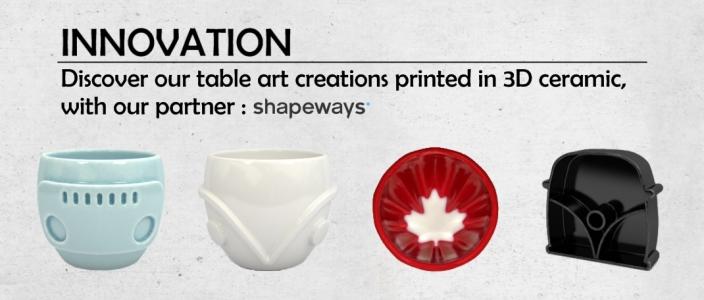 Creations printed in 3D ceramic