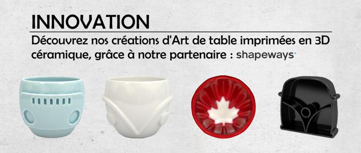 Créations imprimées en 3D céramique